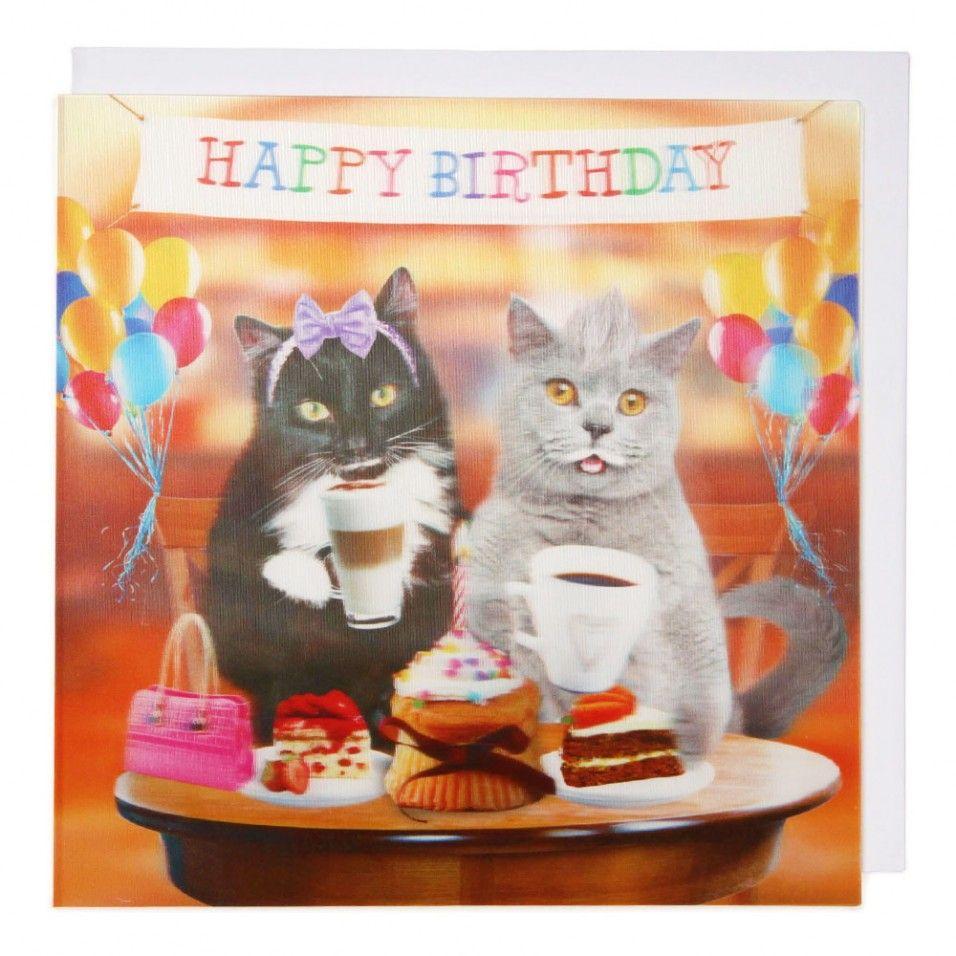 happy birthday cat tea party card  paperchase  happy