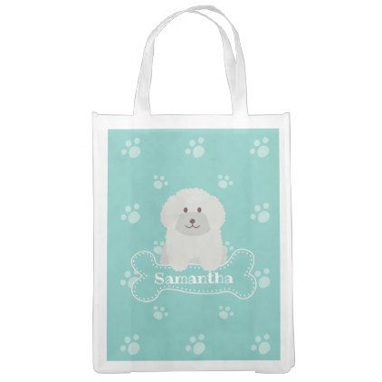Cute Fluffy White Poodle Puppy Dog Lover Monogram Reusable Grocery Bag Zazzle Com Dogs Puppies Pet Gifts Cool Pets