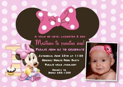 Minnie Mouse First Birthday Invitation Templates 5 Clip Art
