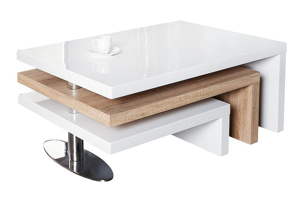 Table Basse Moderne En Mdf Coloris Blanc Laque Et Chene Sonoma