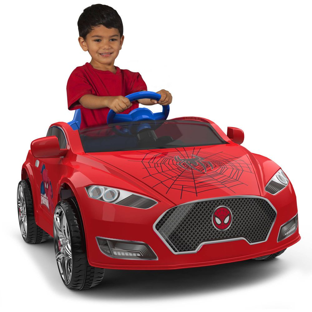 Electric Cars For Kids To Ride 6v Spider Man Toddler Sports Car Toy