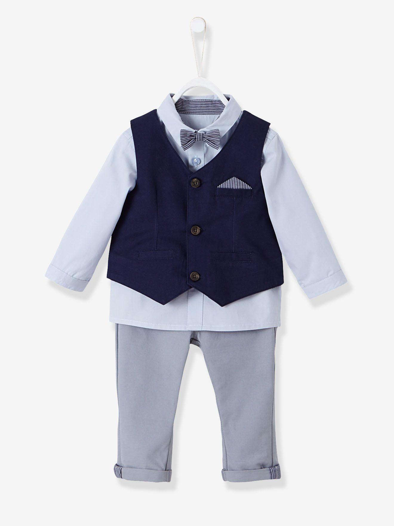 Ensemble bébé garçon cérémonie gilet chemise noeud papillon pantalon  encre gris bleu clair - d3c684898d6