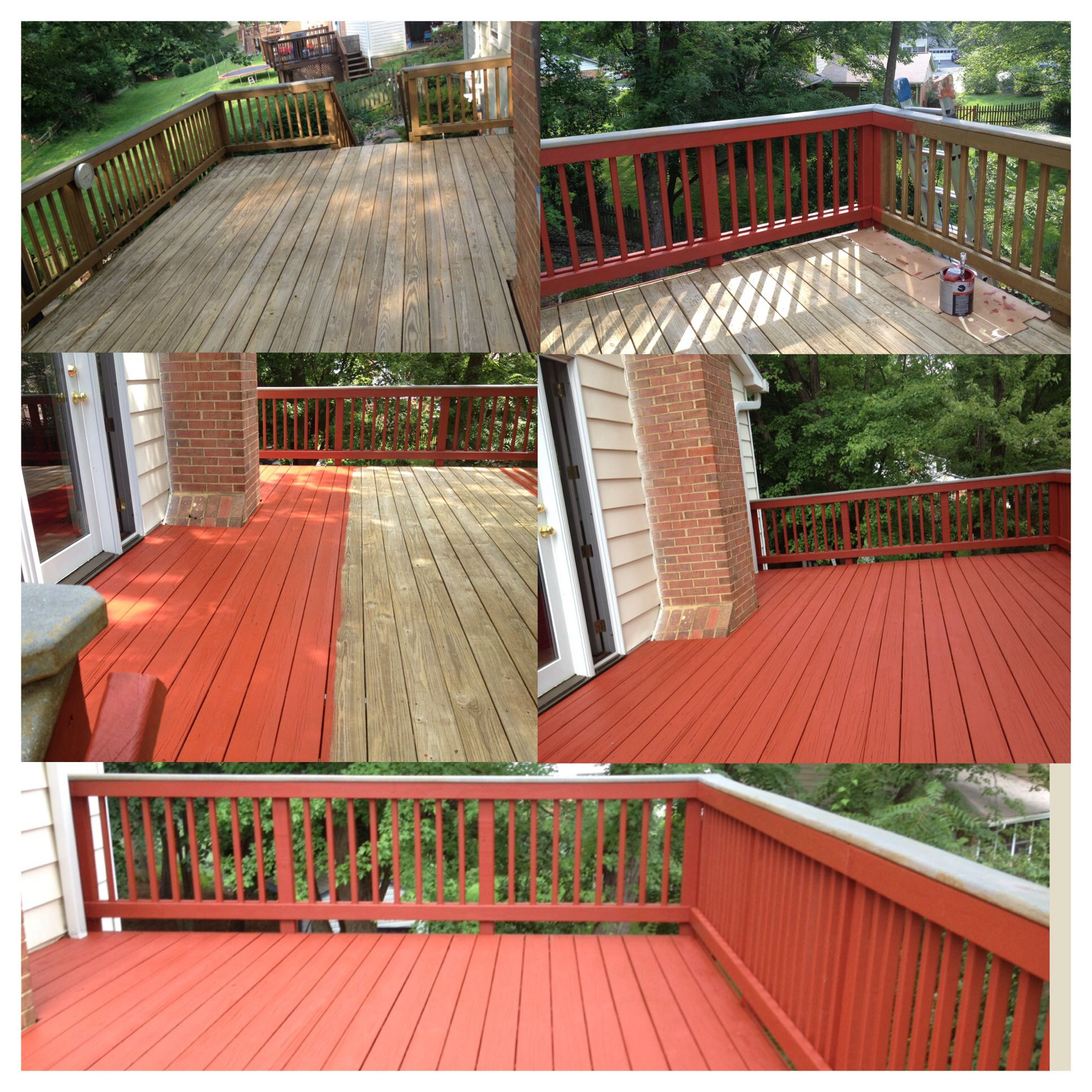 Before And After Pictures Washing Painting Services Navajo Red Solid Color Stain