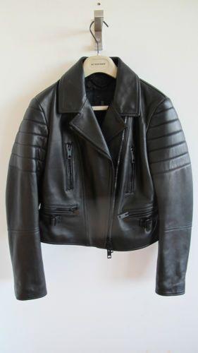 BURBERRY-Prorsum-pour-femme-veste-motard-en-cuir-noir-taille-10-acne ... d67d9b6b1a0