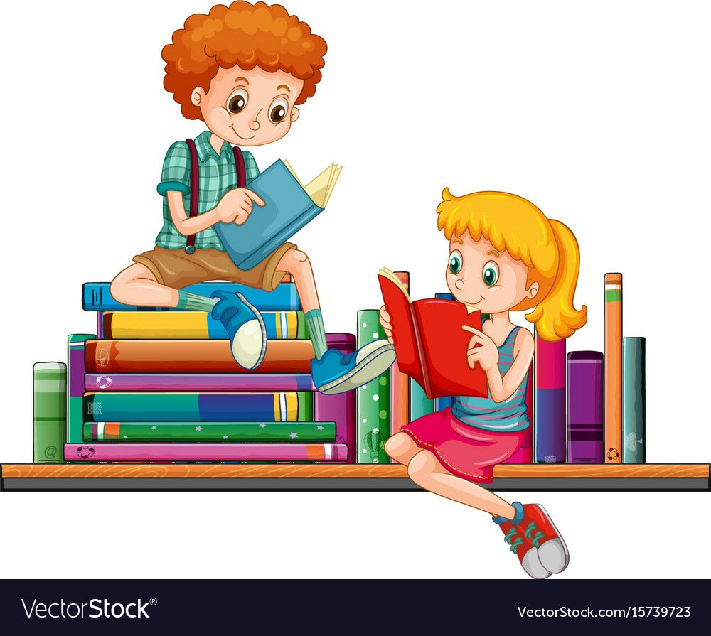 Boy and girl reading books together illustration download