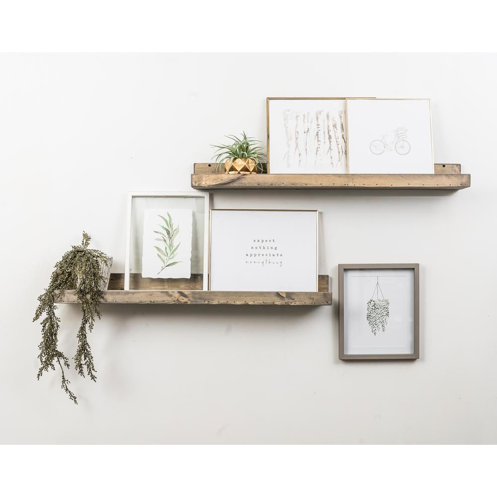 Del Hutson Designs Rustic Luxe 7 In X 36 In Gray Pine Floating