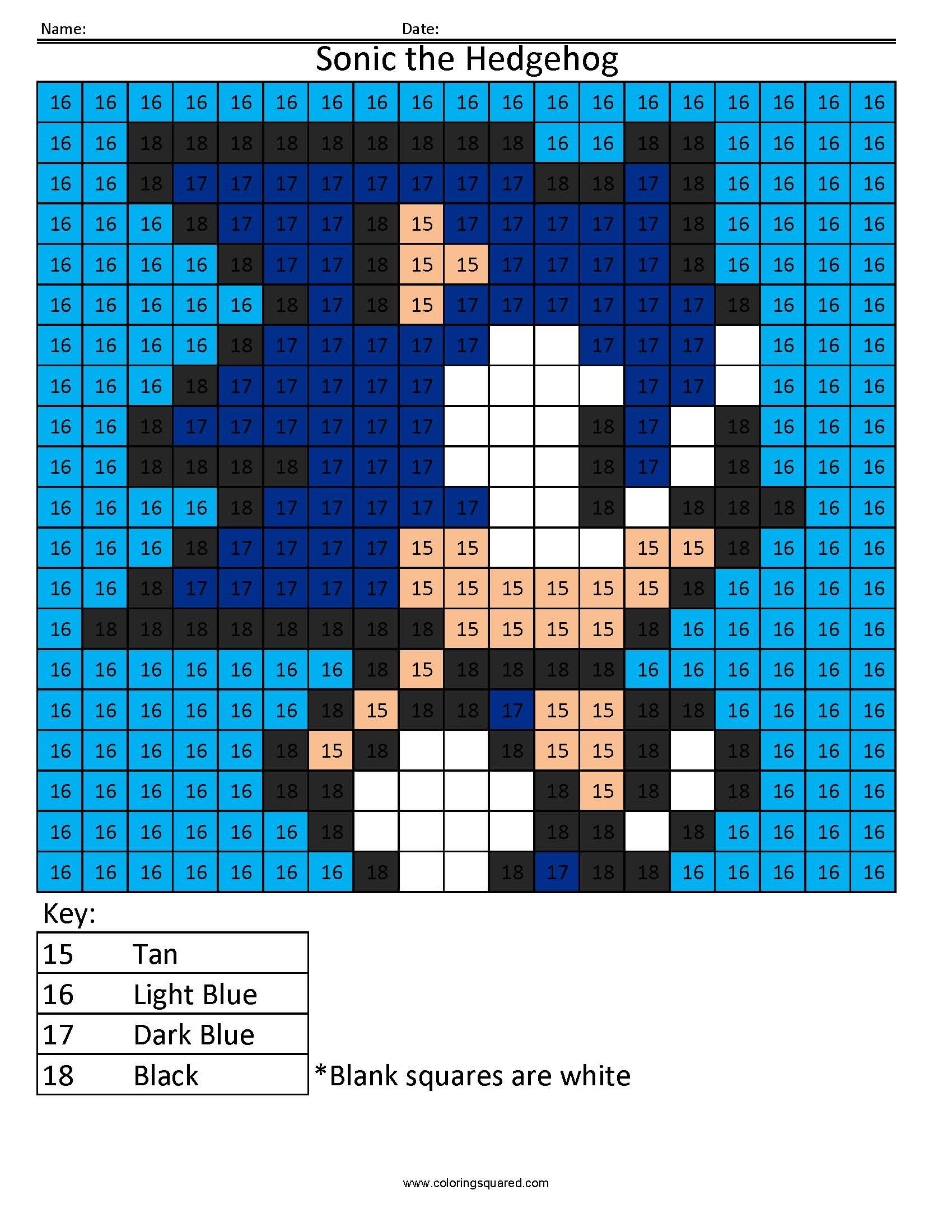 Sonic The Hedgehog Color By Number Math Sega Coloring