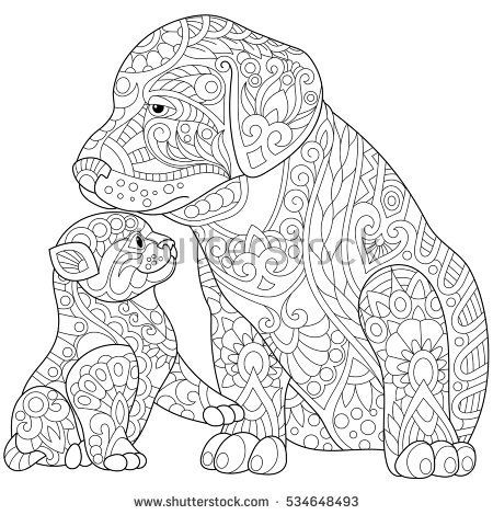 Stylized cute friends cat (young kitten) and labrador dog (puppy). Freehand sketch for adult anti stress coloring book page with doodle and zentangle elements.