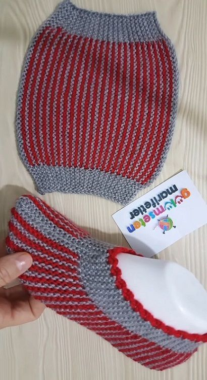 10 Minuten Easy Bag Booties Model # dowrypathy # weave # ...  #booties #dowrypathy #knittingmodelideas #minuten #model #weave #booties