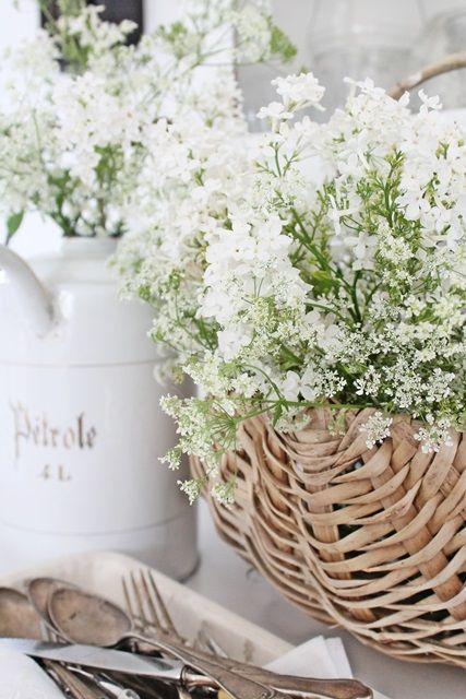 white flowers in basket