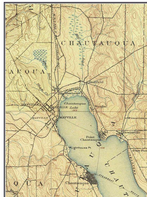 Chautauqua Lake USGS Old Topographic Map Custom Composite - Lake erie topographic map