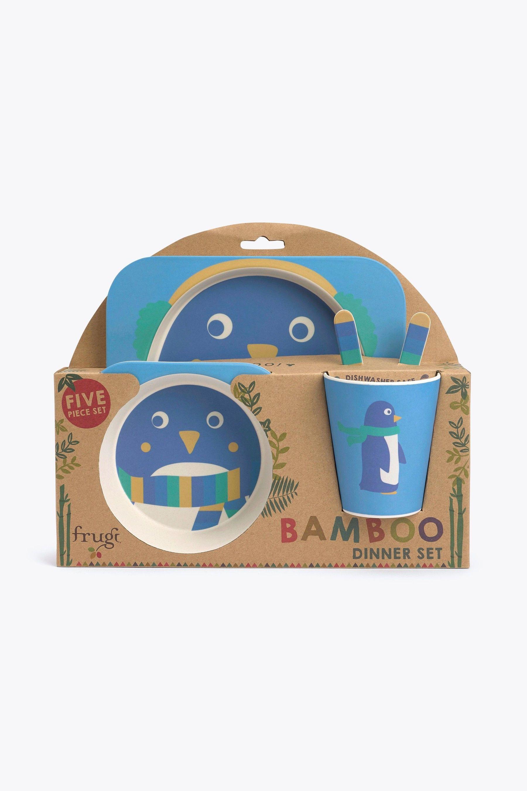 Boys Frugi Children S 5 Piece Bamboo Dinner Set In Penguin Design Blue Dinner Sets Favorite Things List Childrens
