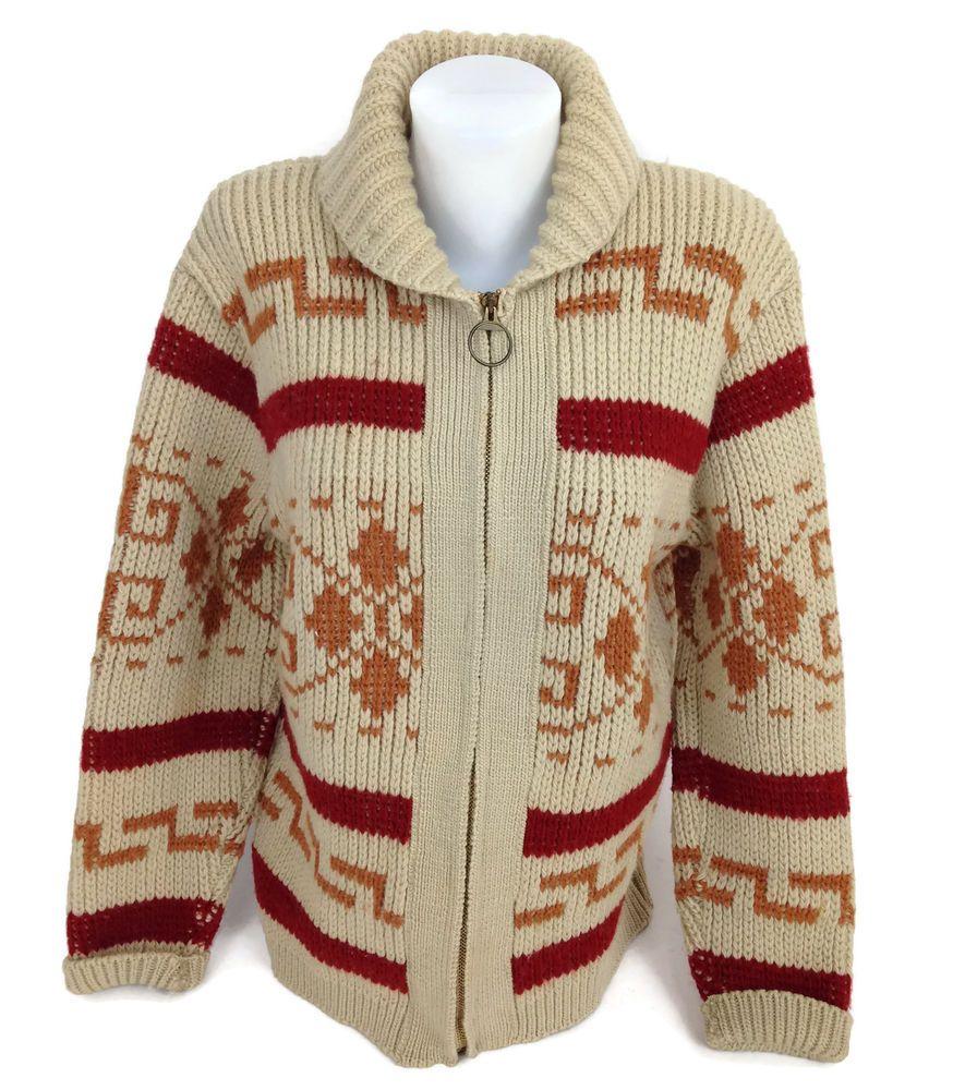 Pendleton Mens Shawl Collar Blanket Pattern Zipper Sweater Made In