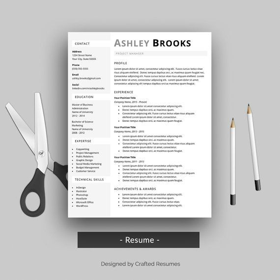 Modern Resume Template for Word with Cover by CraftedResumes