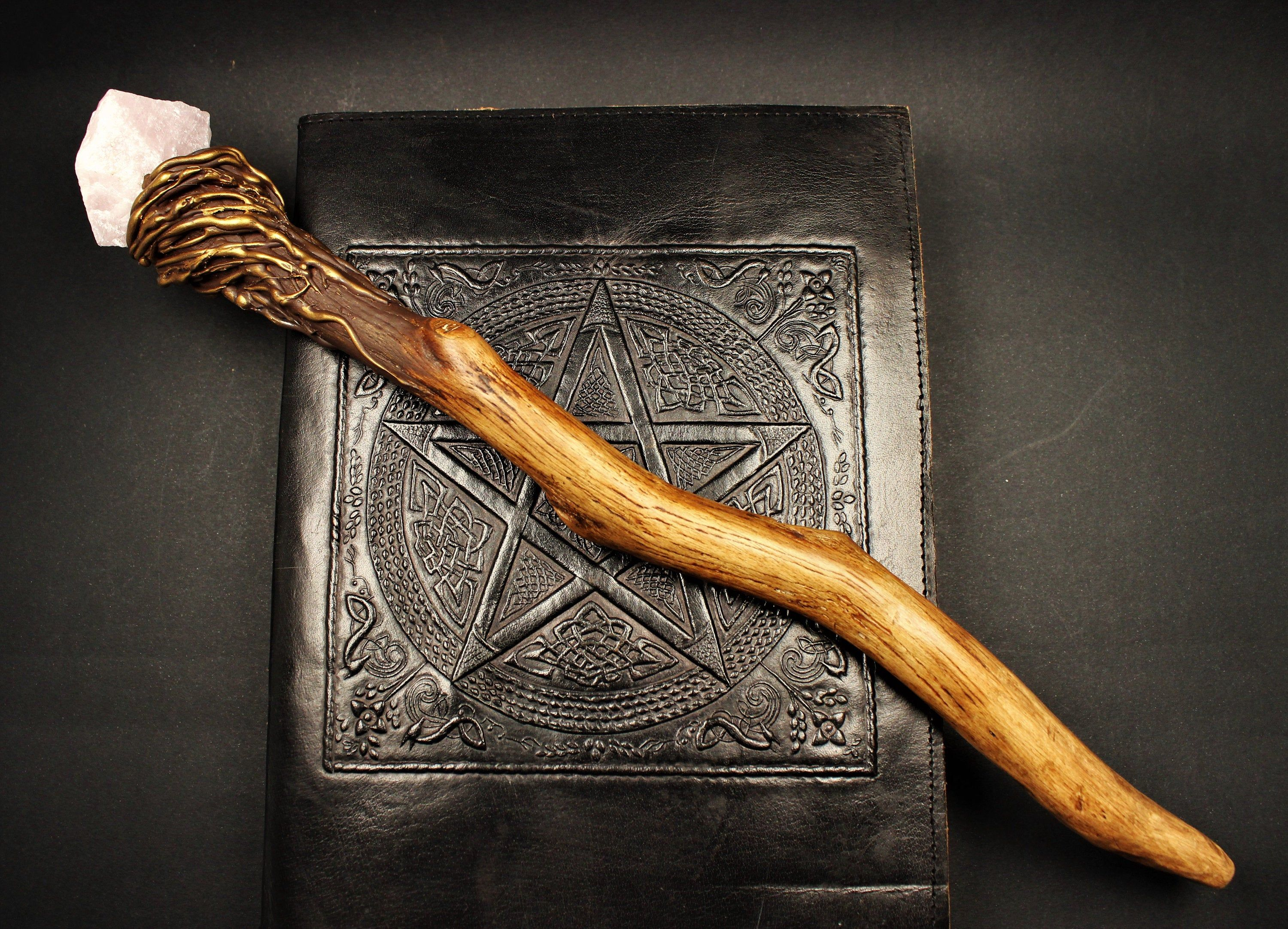 The Rose Quartz Pendle Forest Oak Wand The Pendle Witches Etsy Witch Wand Wands Wizard Wand