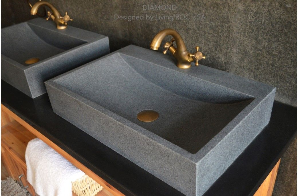 24 Gray Granite Stone Bathroom Sink Faucet Hole Diamond