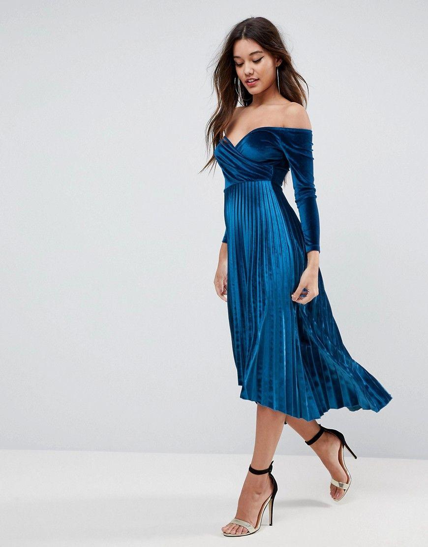 5e4c0301993d ASOS Velvet Wrap Bardot Pleated Midi Dress - Blue