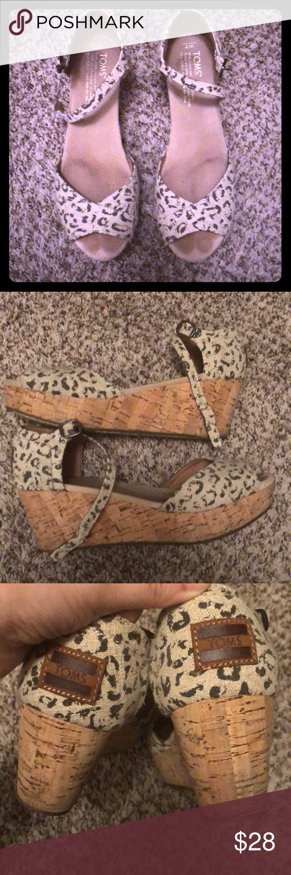 Leopard print Toms wedges Very cute and comfortable Toms wedges. Gray condition. Heel is about 2 1/2 inches with 1 in platform Toms Shoes Wedges #tomwedges Leopard print Toms wedges Very cute and comfortable Toms wedges. Gray condition. Heel is about 2 1/2 inches with 1 in platform Toms Shoes Wedges #tomwedges