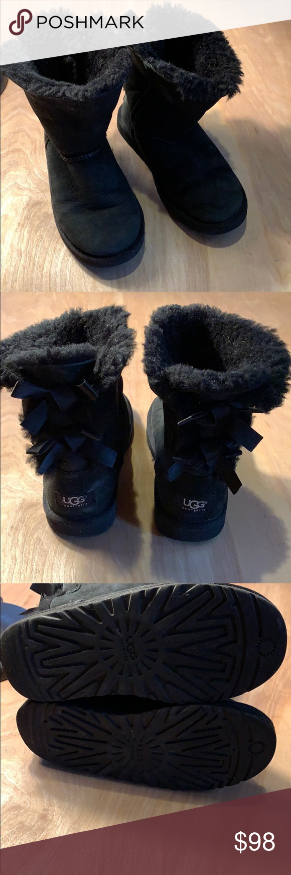 """Girls UGG boots size 3 Baileys black Girls UGG boots size 3 Baileys black new boots, the only thing wearing them is """"dust"""" they have no signs of wear, just tossed in a closet, need some love. See pictures for details. No wear. UGG Shoes Rain & Snow Boots #uggbootsoutfitblackgirl"""