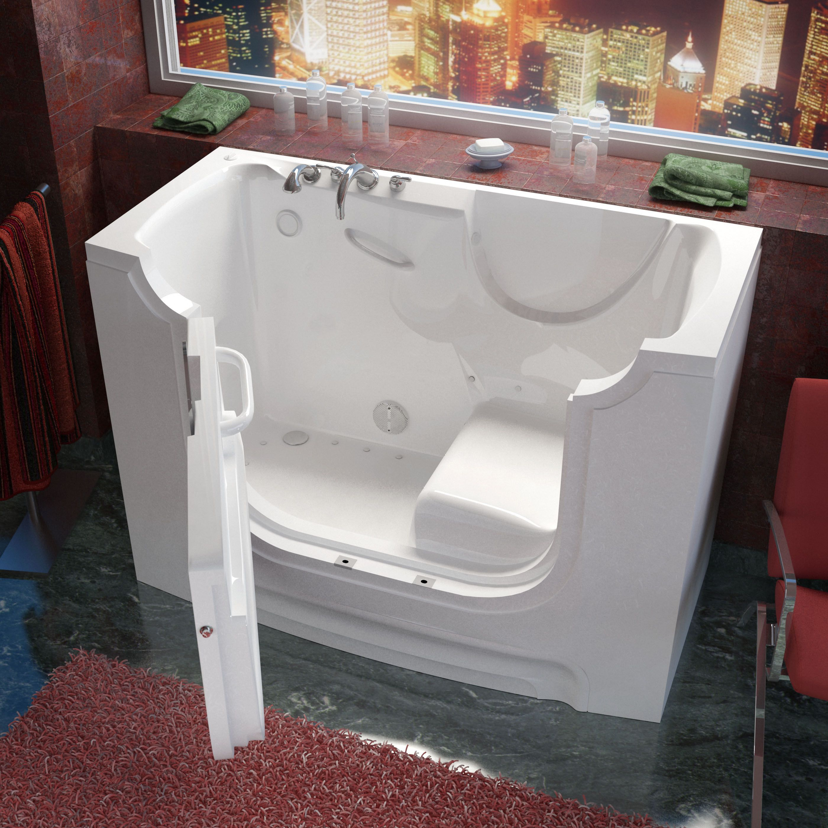 MediTub Wheelchair Accessible 30x60-inch Left Drain White Air Jetted ...