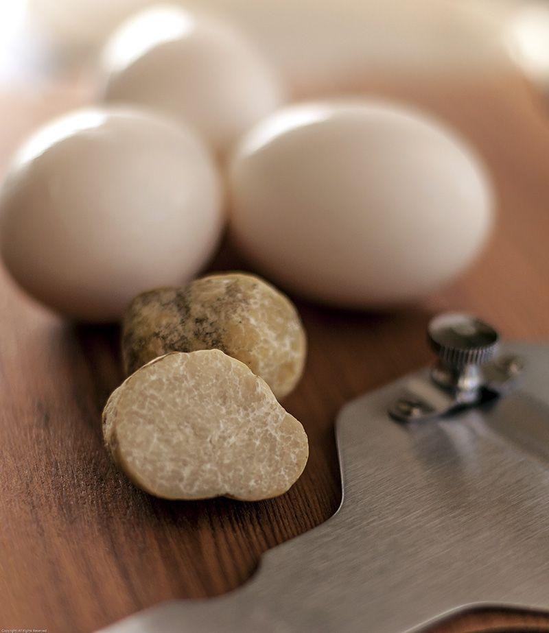 Honey mushroom and farm-fresh eggs with Truffle slicer. The heart of Honey Truffle Arborio Rice Pudding.