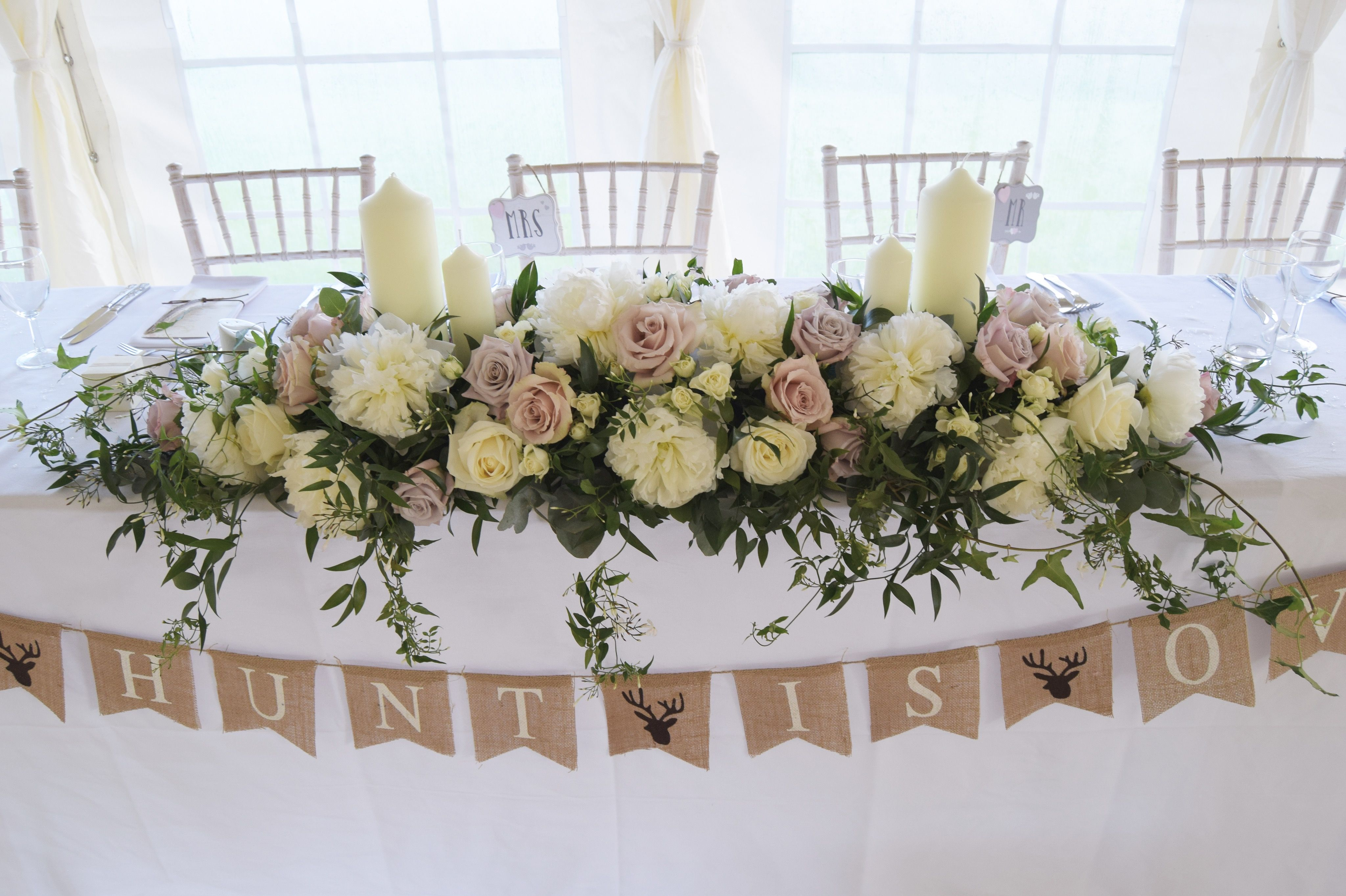 Long And Low Top Table Arrangement Bridal Table Flowers