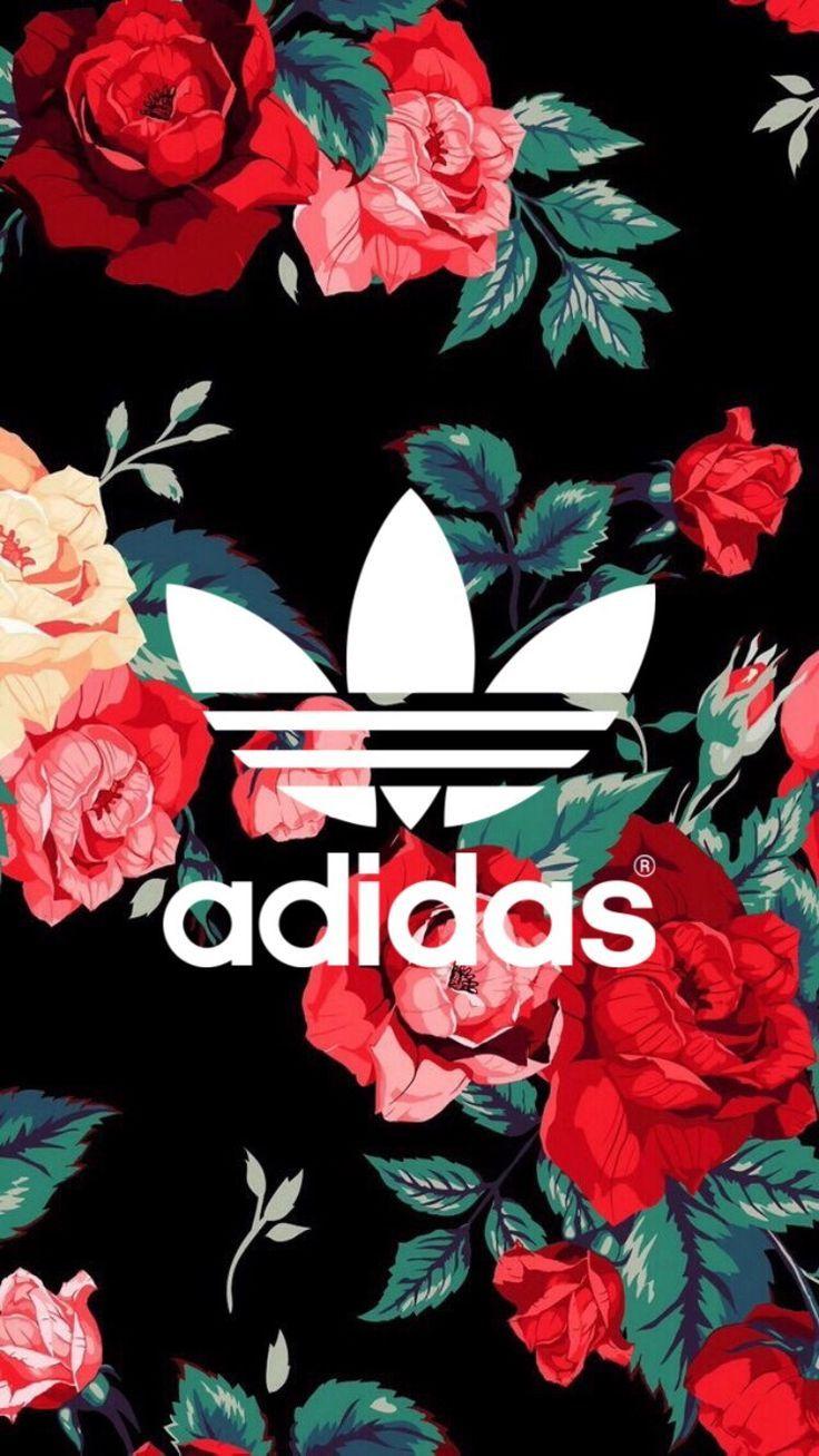 アディダス/adidasロゴと花柄のiPhone壁紙