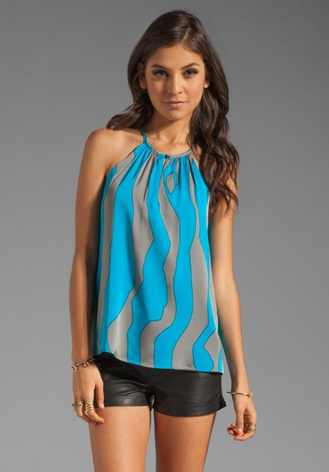 MILLY Silk Tiger Print Ariel Top in Aqua at Revolve Clothing