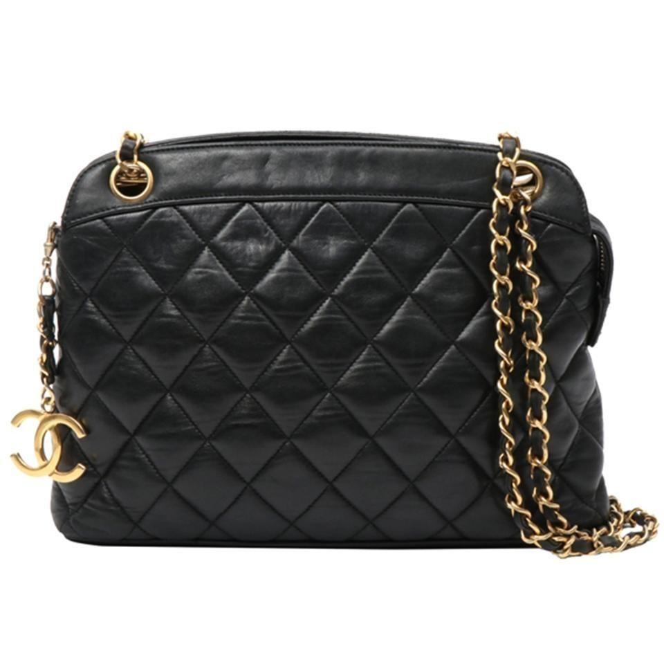 Chanel Shopping Tote Vintage Quilted Black Lambskin Shoulder Bag In 2020 Chanel Shopping Tote Shoulder Bag Brown Leather Shoulder Bag