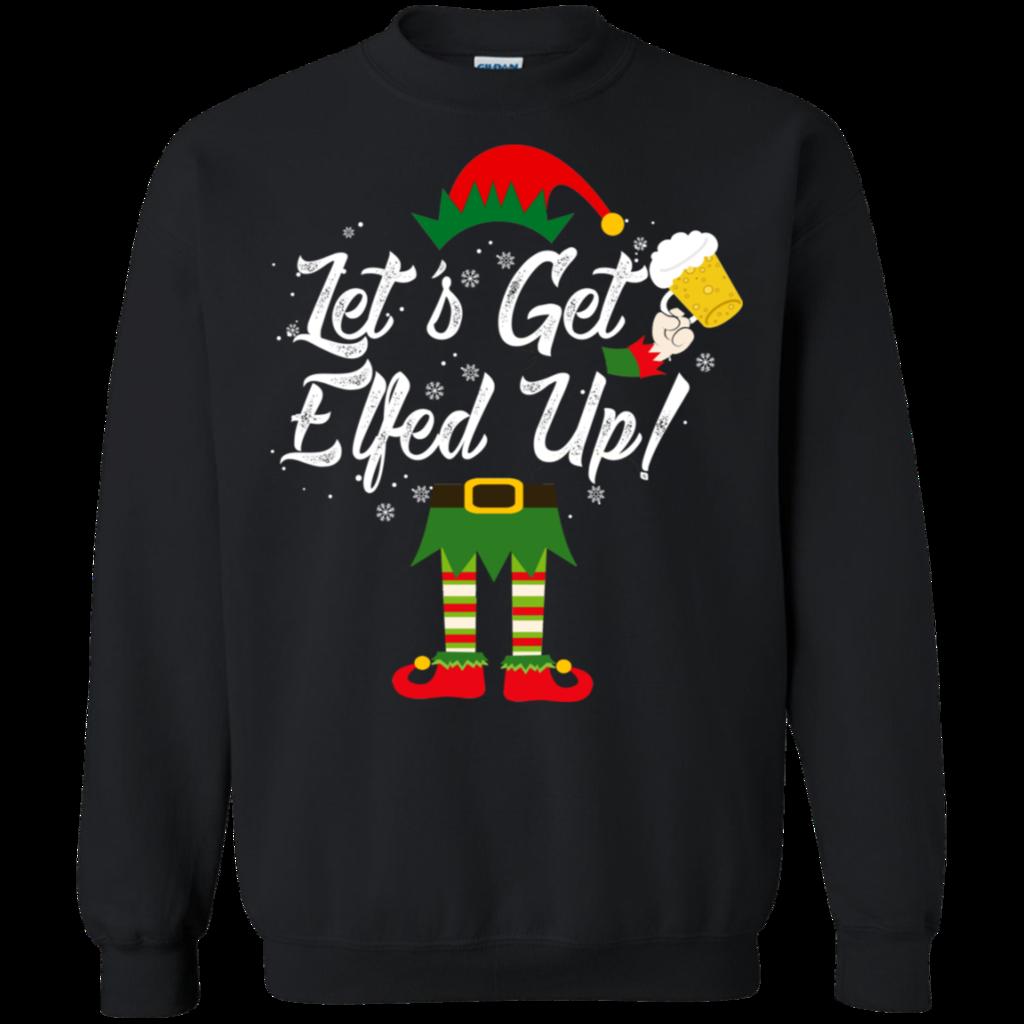 Let/'s Get Elfed Up Hoodie Drinking Beer Christmas Xmas Elf Ugly Sweatshirt