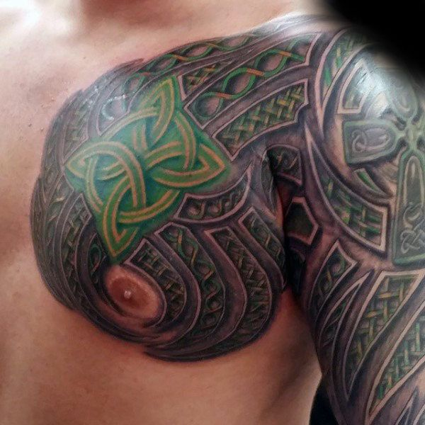 Irish Tattoos For Men: Green Knots Mens Celtic Sleeve And Chest Tattoos