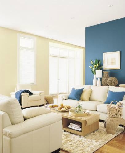Best Dark Blue Feature Wall Teamed With Light Neutral Colour 400 x 300