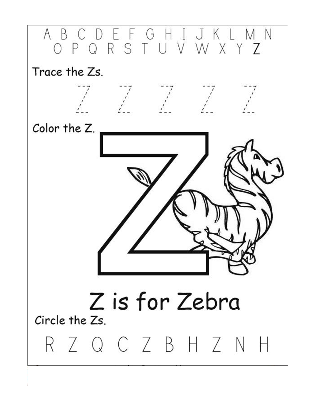 Letter Z Worksheets For Kindergarten | Activity Shelter | Kids ...