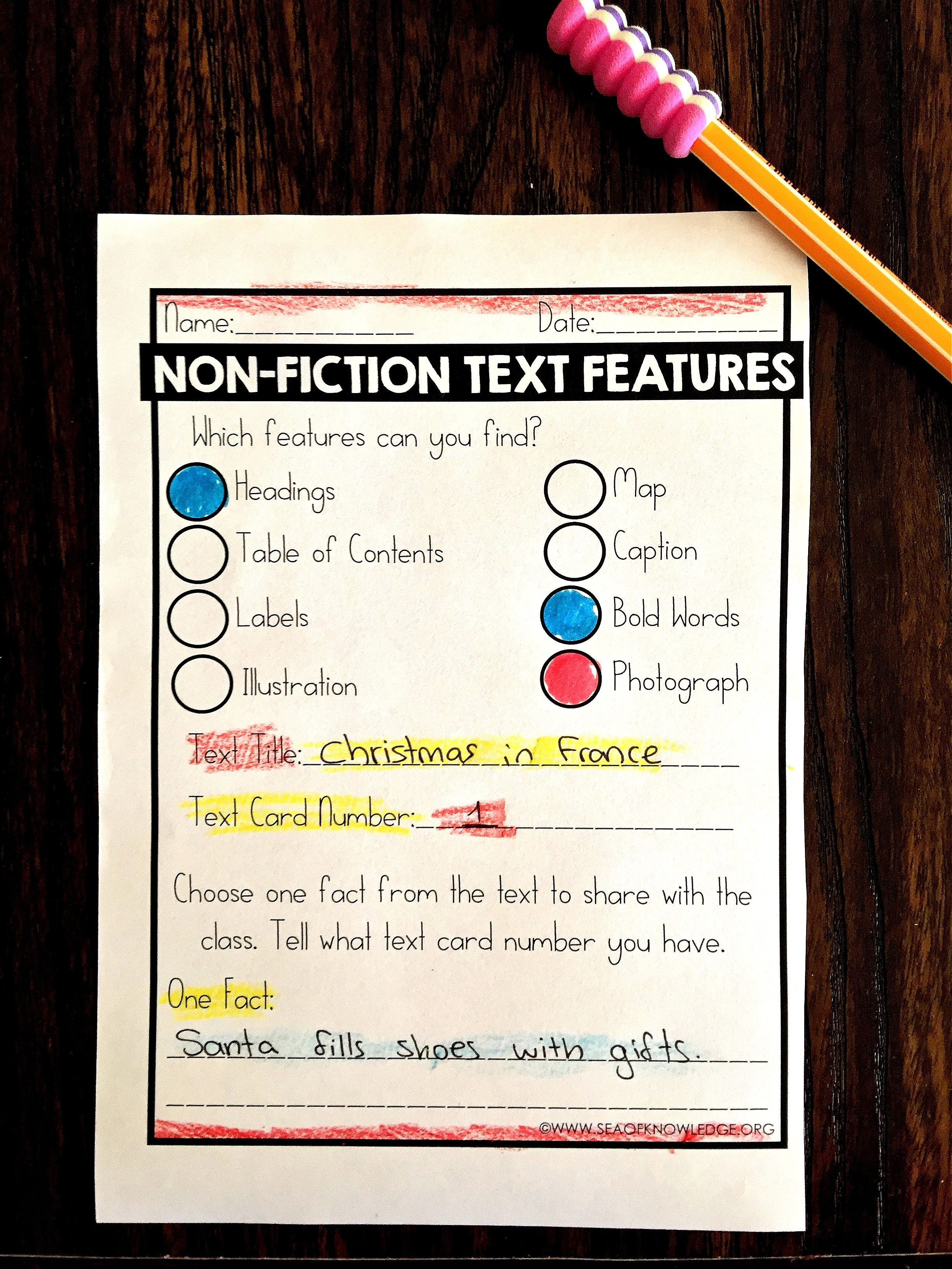 Nonfiction Text Features Worksheets Free Sea Of Knowledge Text Features Worksheet Text Features Nonfiction Text Features