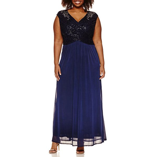Melrose Sleeveless Beaded Lace Evening Gown-Plus - JCPenney ...