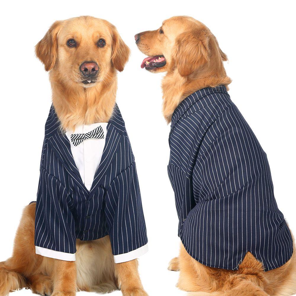 Large Dog Clothes Big Dogs Coat Stripes Bowknot Tuxedo Wedding ...