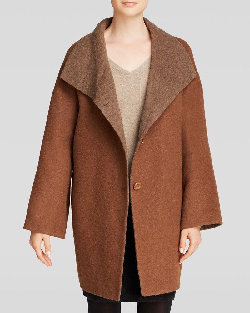 New Eileen Fisher Doubleface Baby Alpaca Funnelneck Cocoon Coat M Pecan Brown Eileenfisher Coat Versatile Coat Cocoon Coat Fashion [ 1000 x 800 Pixel ]