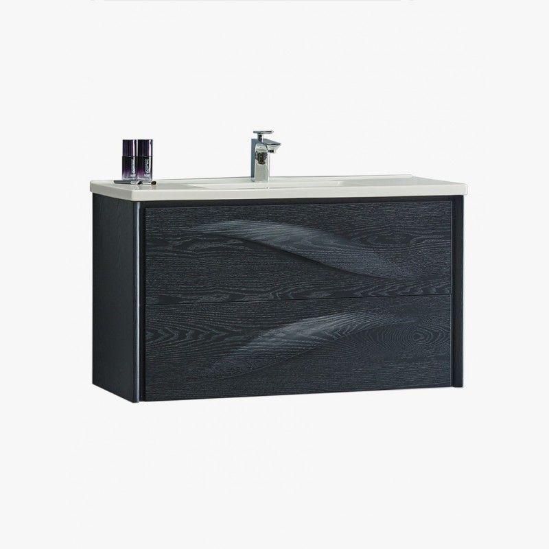 AQUAVENTO meuble salle de bain design chêne noir | Meuble de salle ...