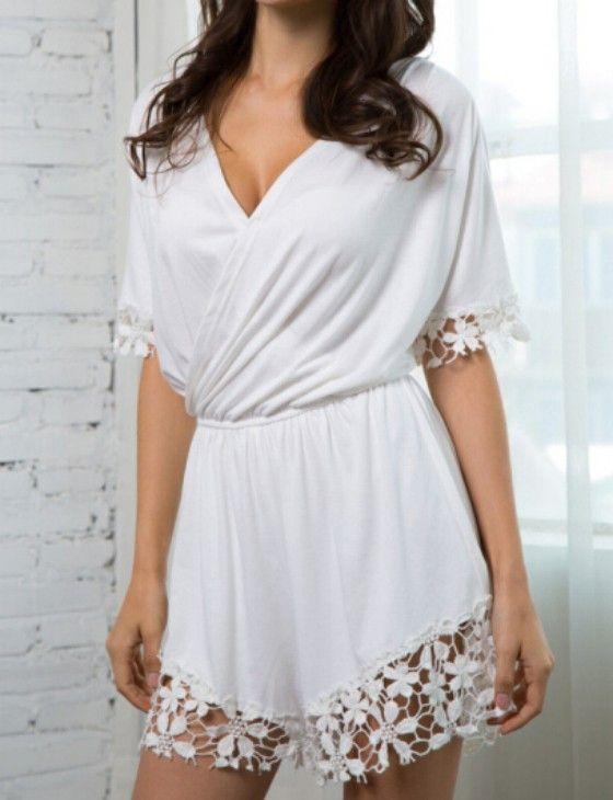 295ac0b4e68 White Plain Lace High Waisted Chiffon Short Jumpsuit - Shorts - Bottoms