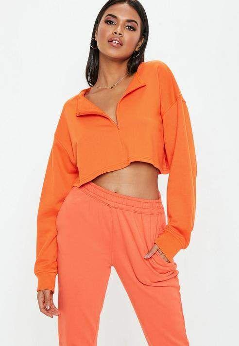 3c681bc57af Missguided Orange Inserted Zip Front Crop Sweatshirt
