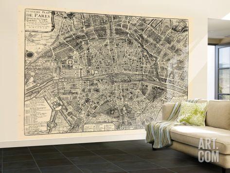 France Paris Vintage Map Wall Mural Large At Art Com Map Wall Mural Wall Murals Mural
