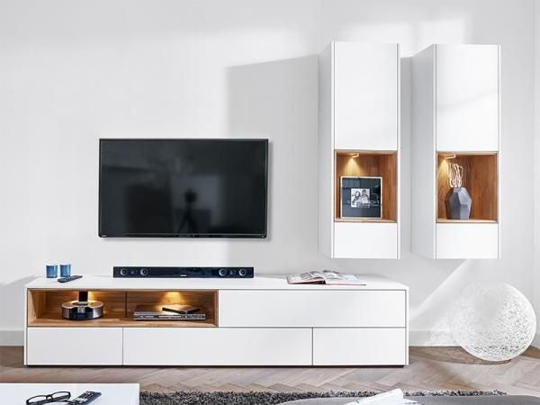 Modern wall storage system in matt white TV unit & 2 wall ...
