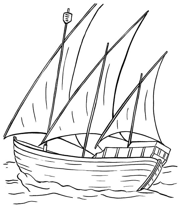 Three Sail Fishing Boat Coloring Pages Coloring Pages Fishing Boats Boat
