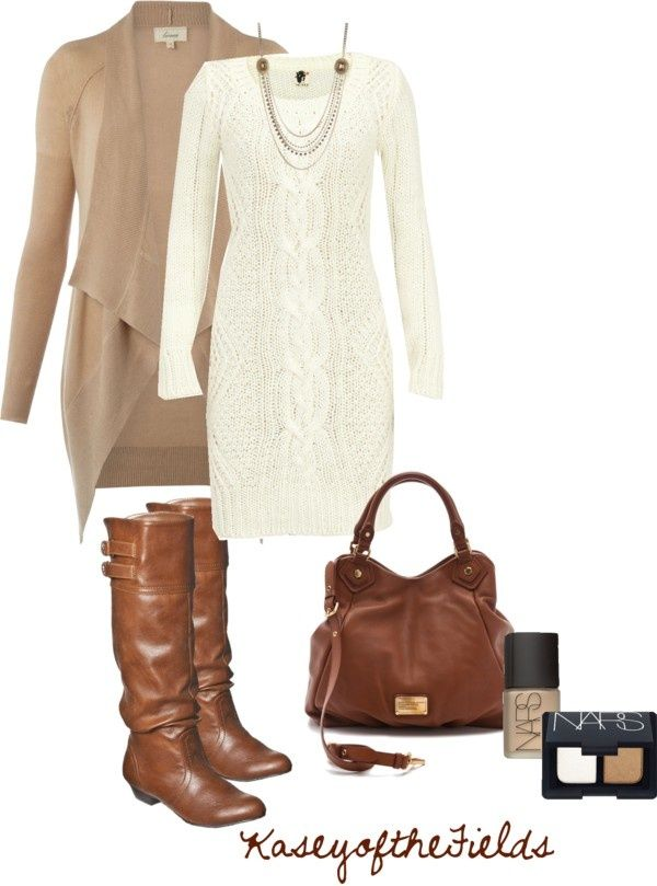 Boots, white sweater dress with another sweater over it?! Add some ...