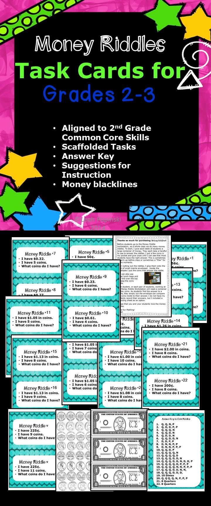 CCSS Aligned - 2.MD.8- 2nd and 3rd grade Money Riddles - 24 Task ...