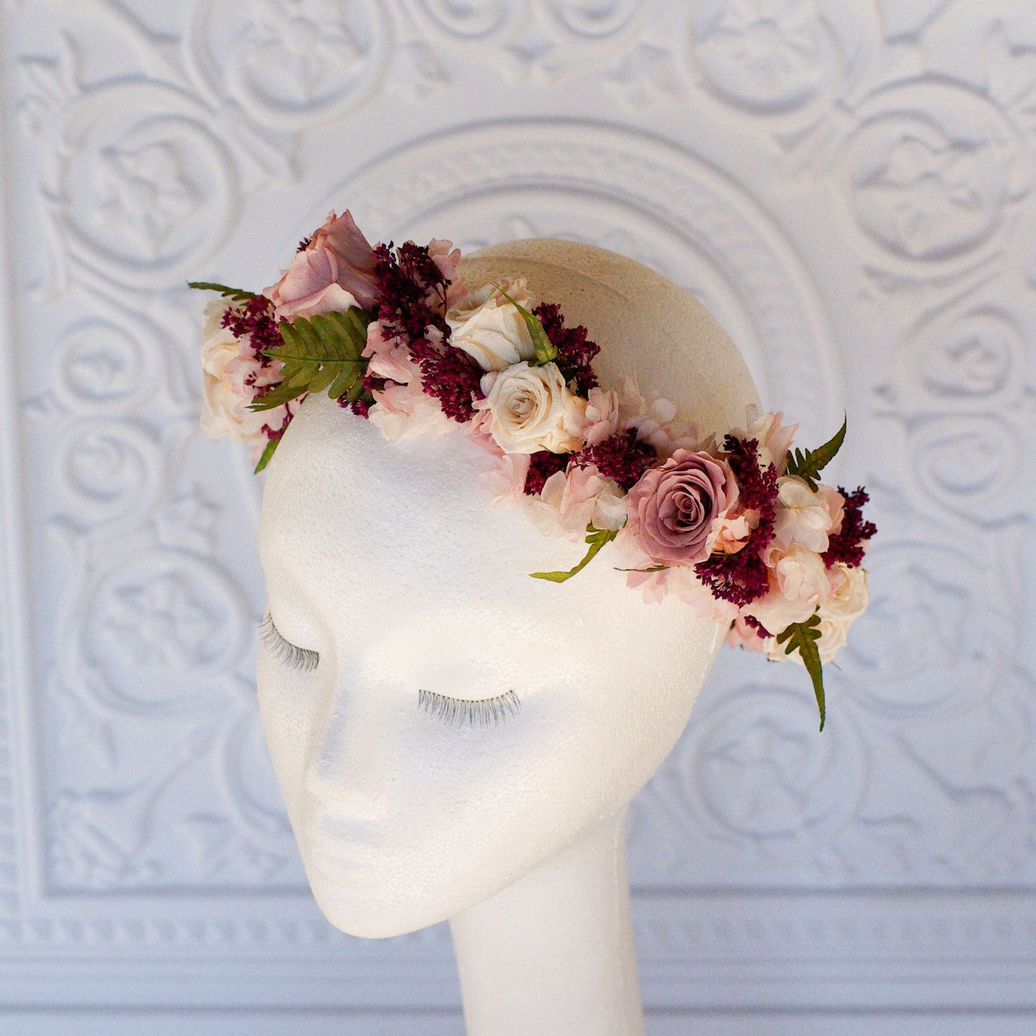 Flower crown in dusty rose marsala ferns blush pink and ivory a floral crown made with all real preserved flowers that will not wilt on your wedding day made with roses hydrangea and ferns in shades of blush izmirmasajfo