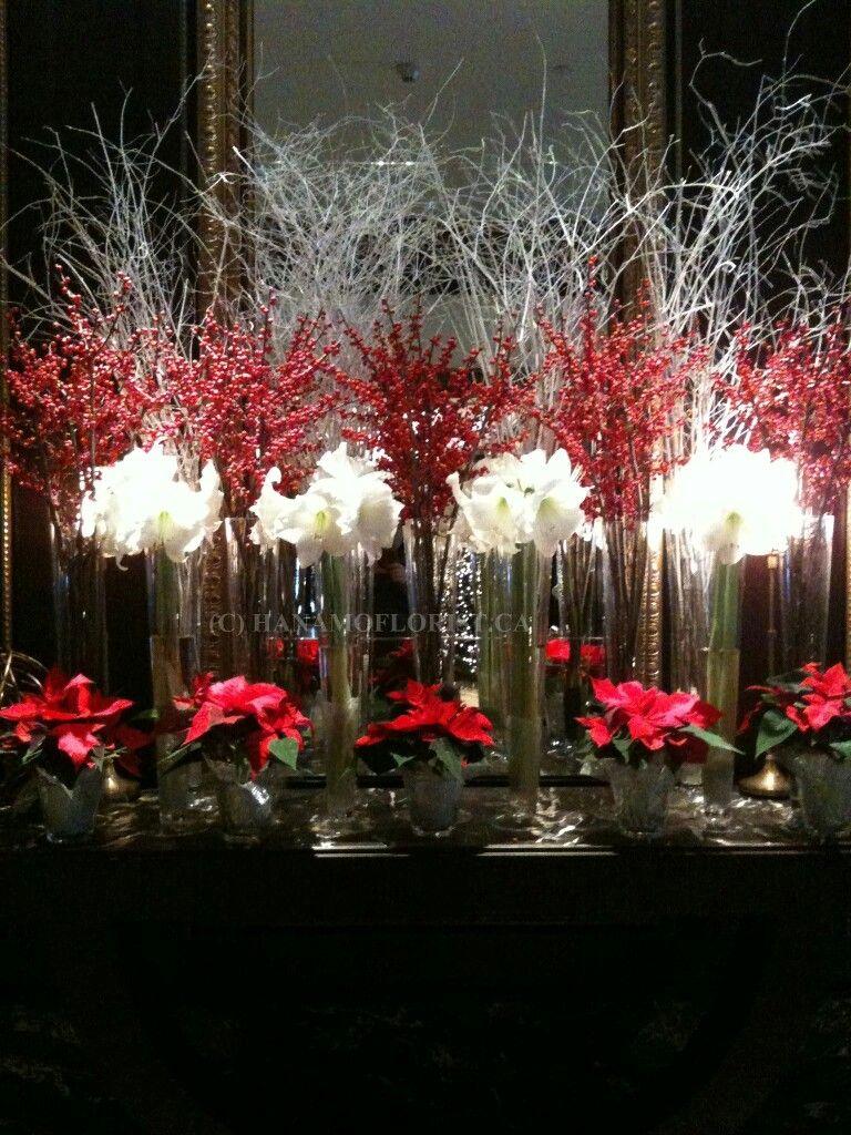 Wedding decorations red  Même thème en bleu  Floral arrangements  Pinterest  Flower