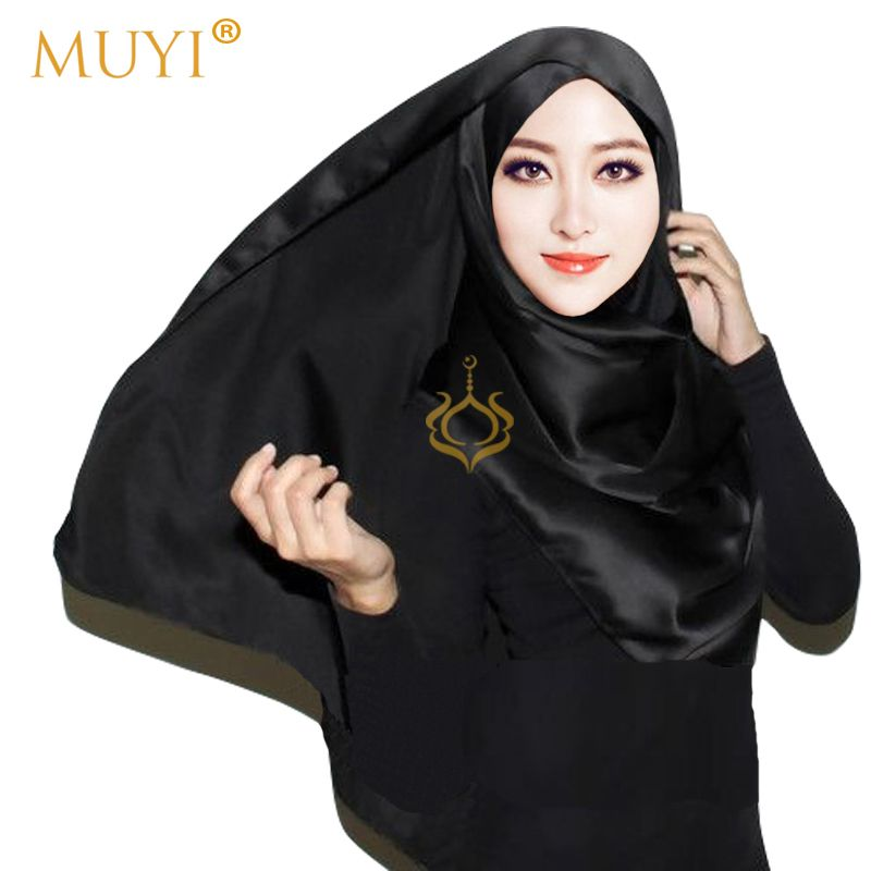 aa3ce5d70e6 Muslim Women Hijabs Plain Satin Luxury Scarf Foulard Femme Black ...