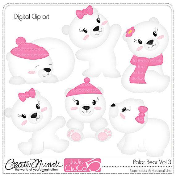 Polar Bear Cliparts Vol 3  Digital Clip Art  by StudioCinCo, $4.95