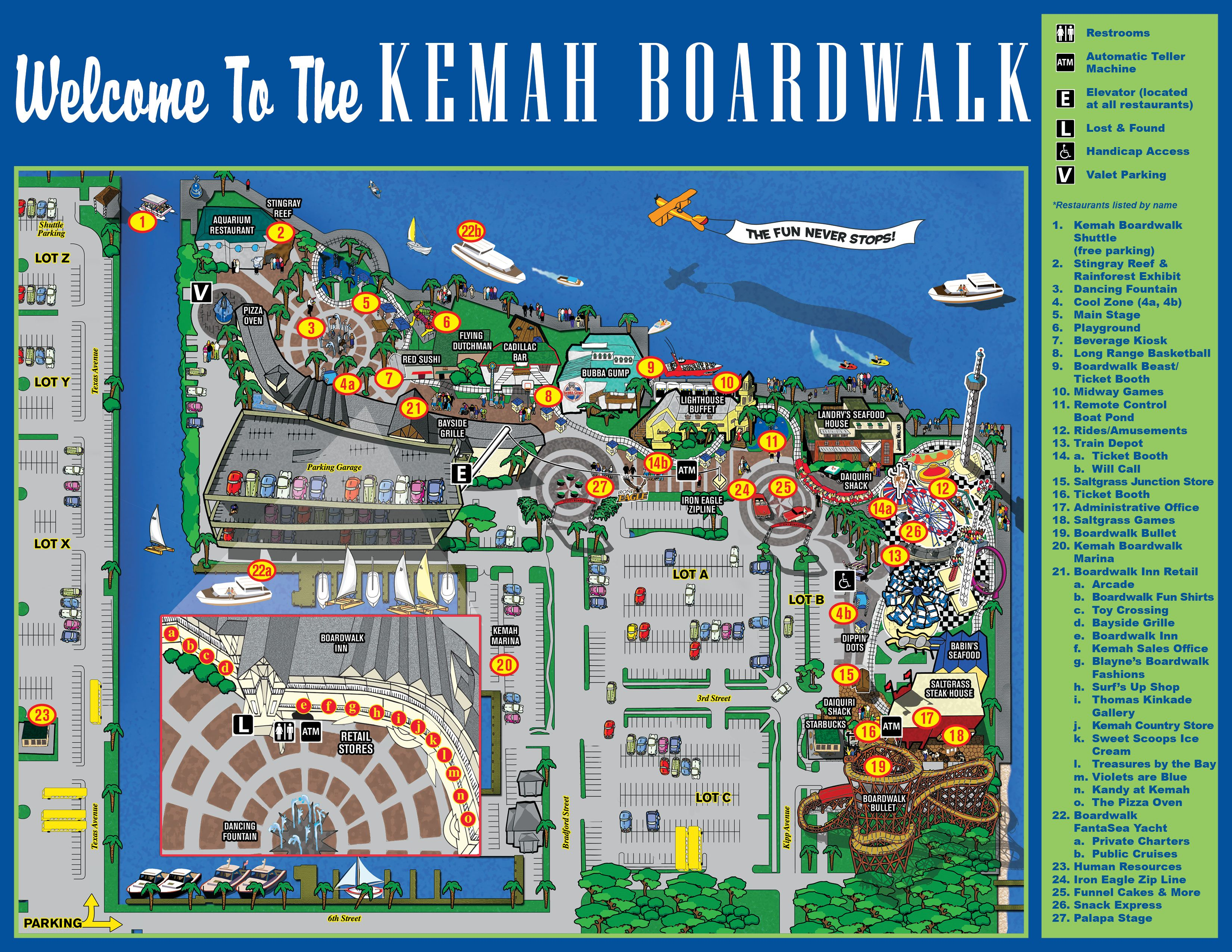 Map Of Kemah Boardwalk Restaurants 215 Kipp Ave Tx 77565 877 At 285 3624